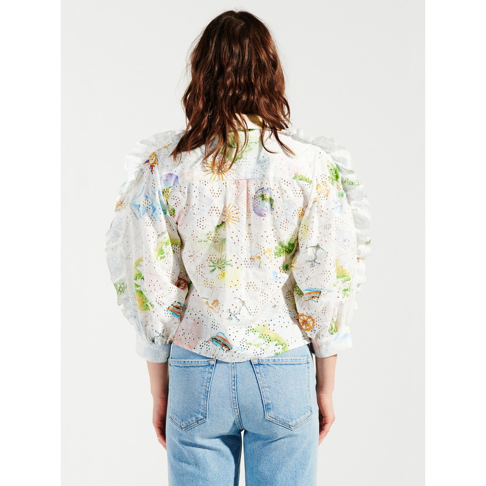 Hayley Menzies Paradise Found Broderie Tux Shirt White