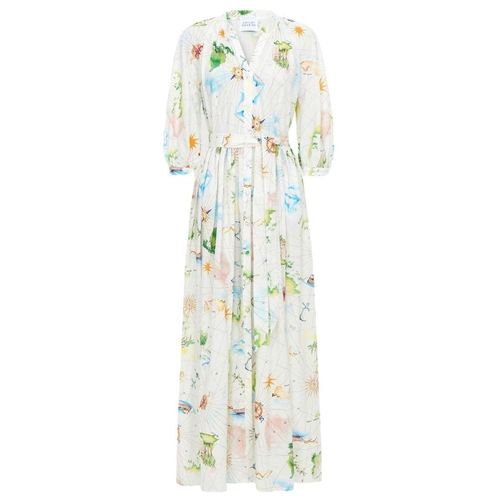 Hayley Menzies Paradise Found Midi Volume Shirt Dress White