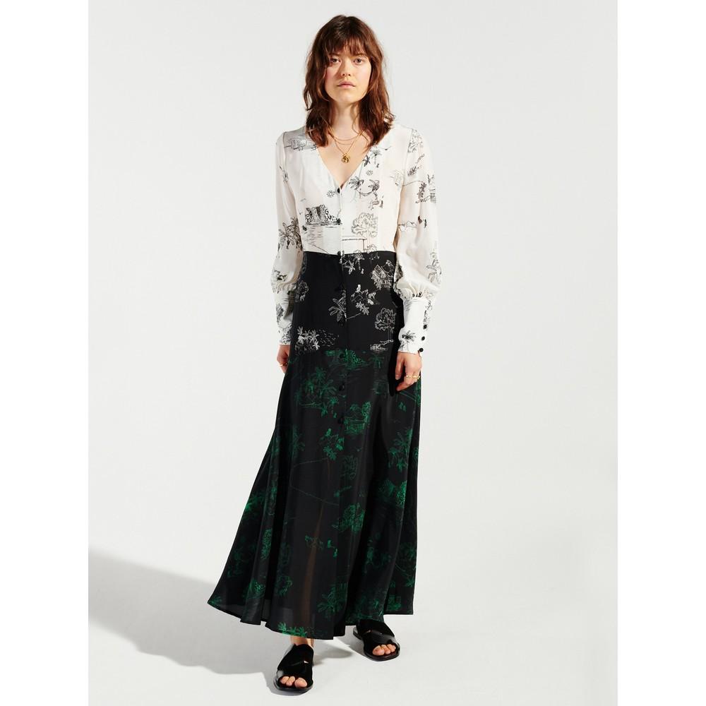 Hayley Menzies Elysian Fields Midaxi Panel Dress Black & White