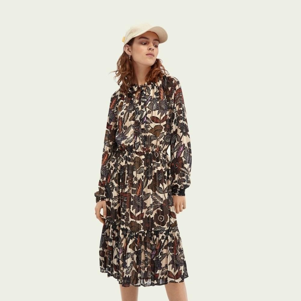 Scotch & Soda Long Sleeve Midi Print Dress Multi