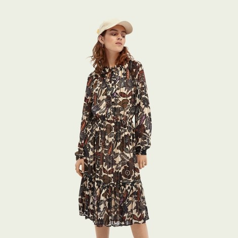 Scotch & Soda Long Sleeve Midi Print Dress