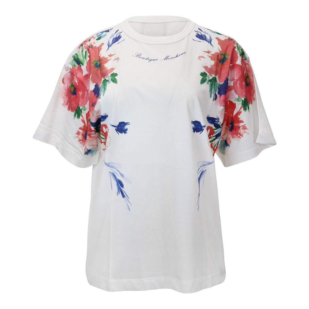 Moschino Boutique Floral Pattern T-Shirt White