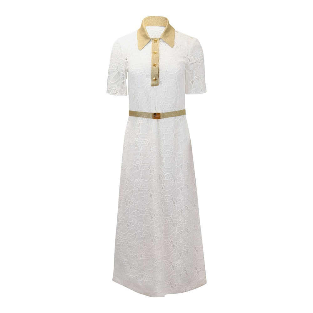 Moschino Boutique Lace Dress with Gold Trim White