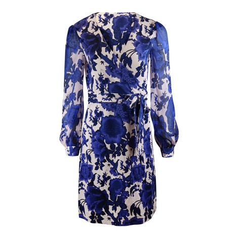 DVF Gala Mini Wrap Dress in Blue Pattern