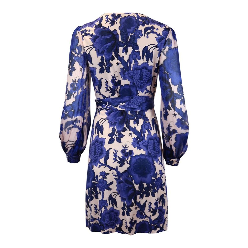 DVF Gala Mini Wrap Dress Blue Pattern