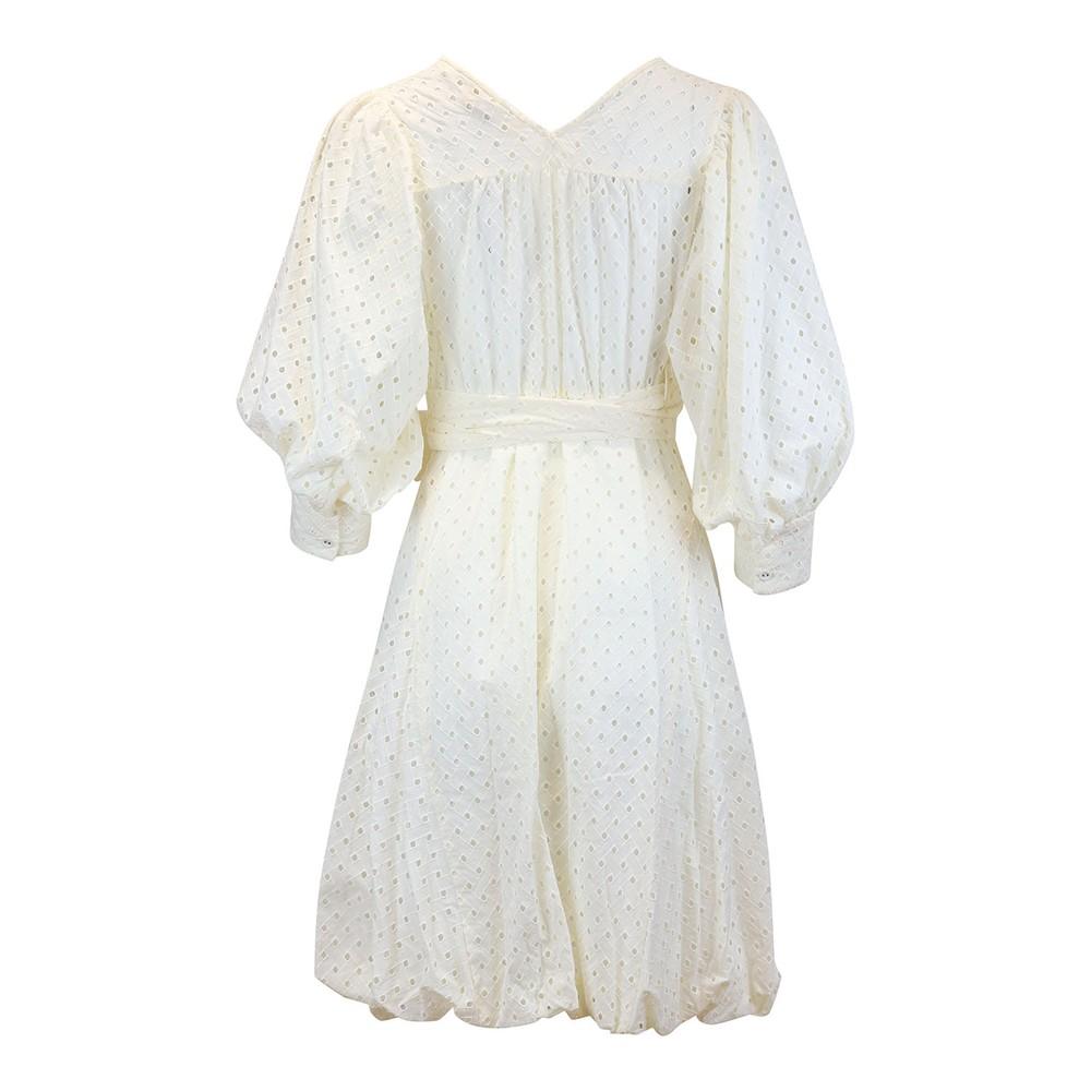 DVF Ulrica Eyelet Cotton Wrap Dress Ivory