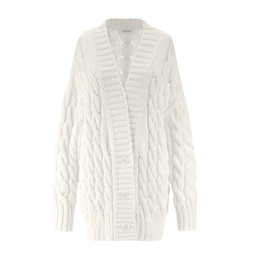 Sportmax Ode Cable Knit Cardigan White