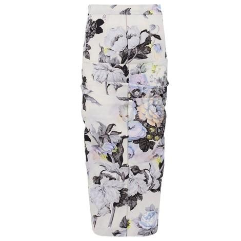 Sportmax Tamaro Floral Print Skirt in White