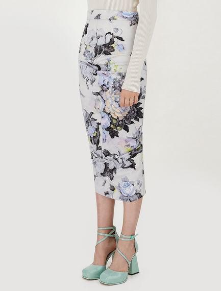 Sportmax Tamaro Floral Print Skirt White