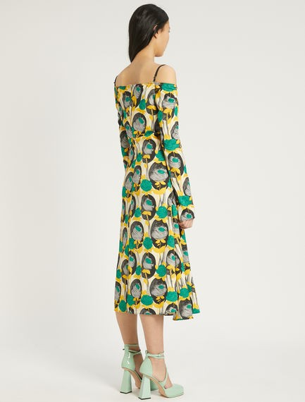 Sportmax Colomba Long Sleeve Print Dress Multi