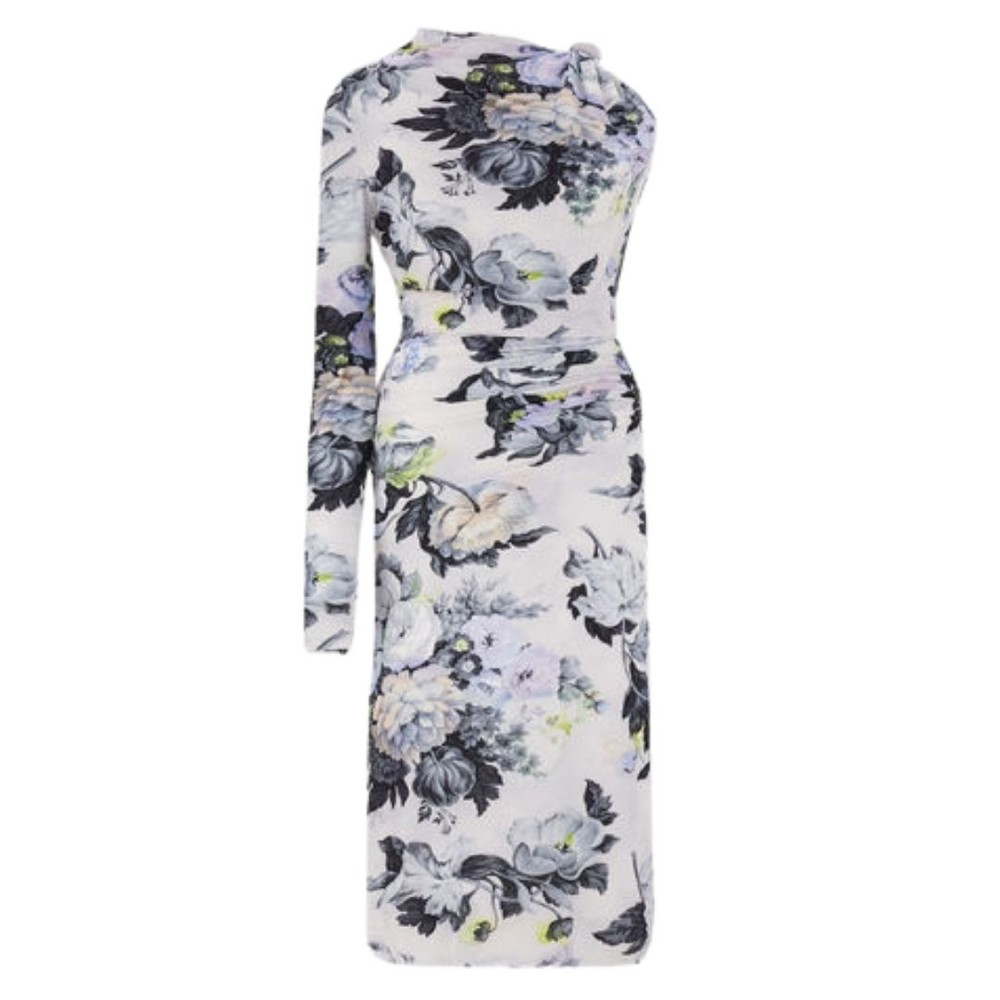 Sportmax Cenere Single Sleeve Dress White