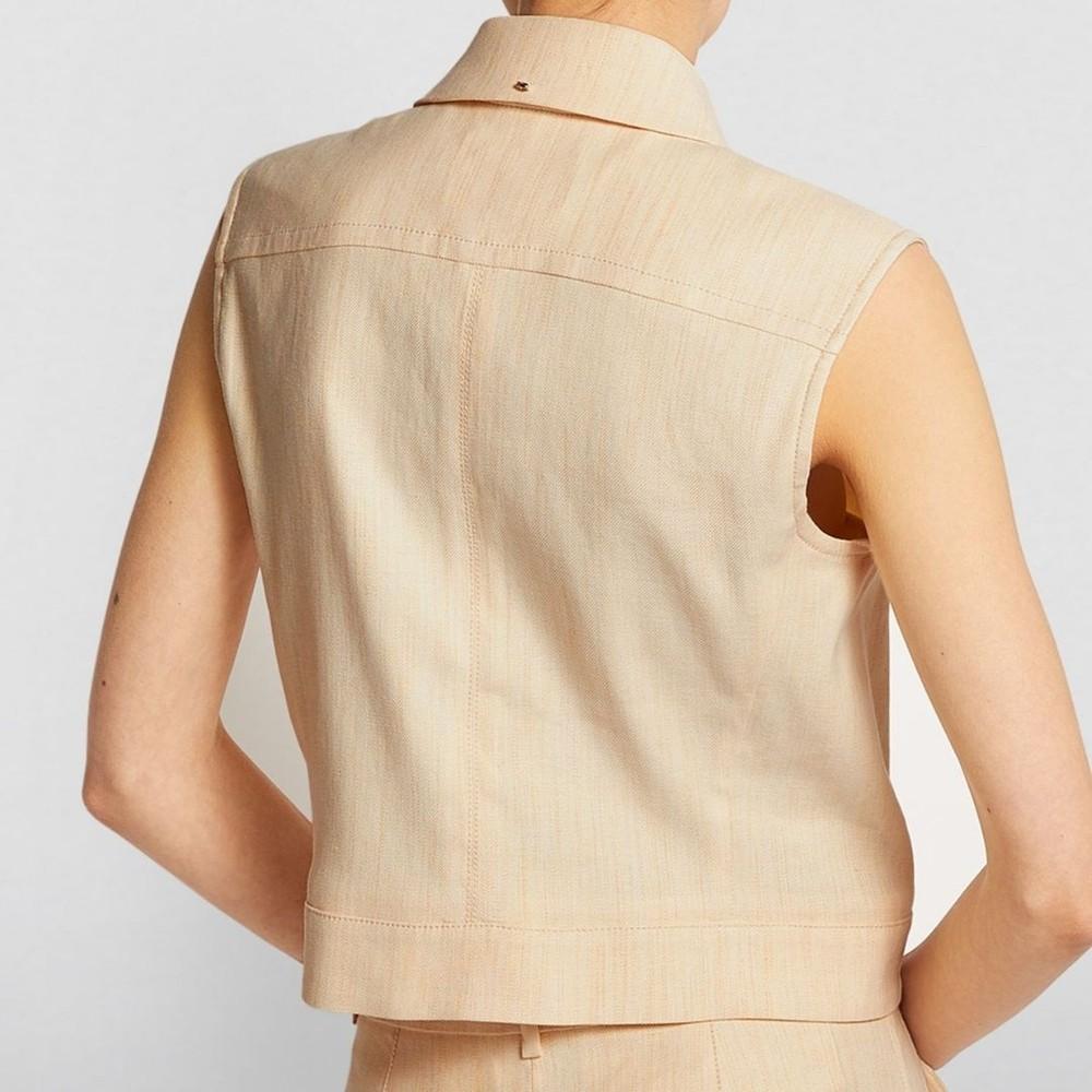 Sportmax Rane Linen Sleeveless Jacket Camel