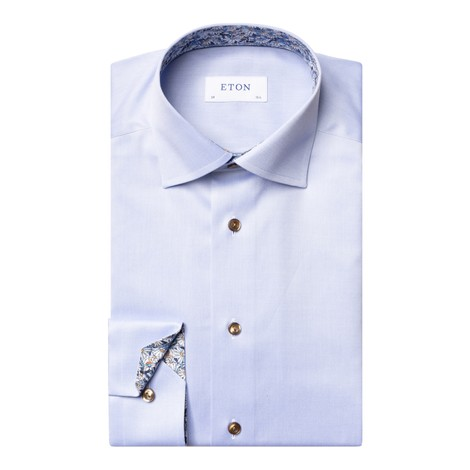 Eton Flower Print Trim Contemporary Fit Shirt in Blue