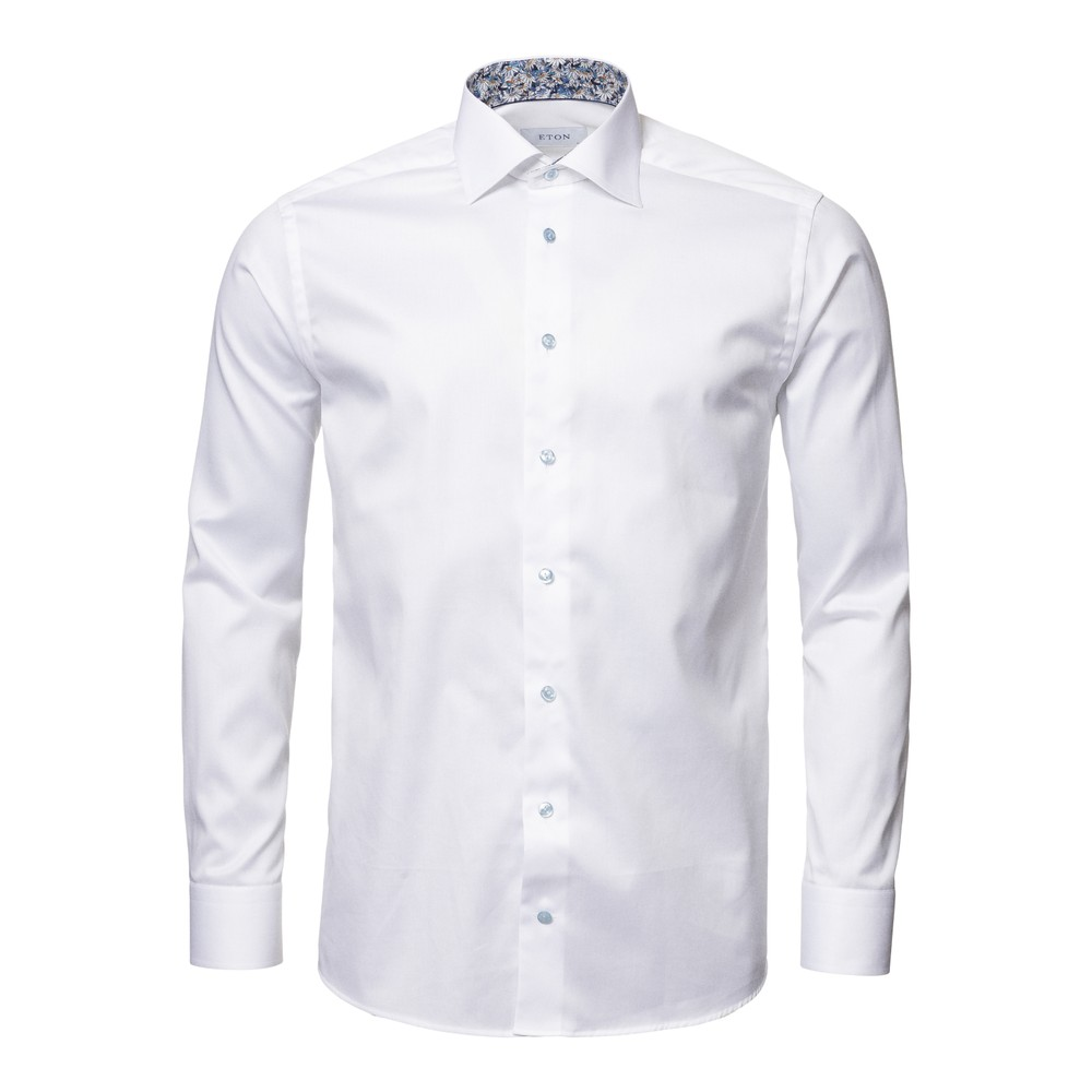Eton Flower Print Trim Contemporary Fit Shirt White