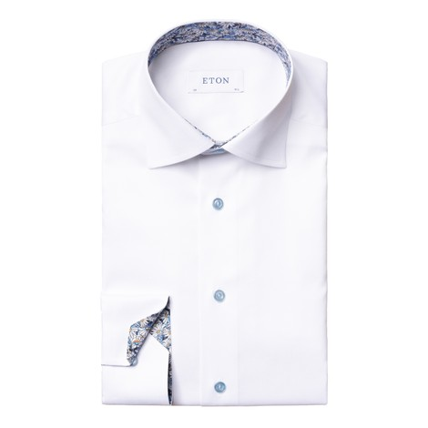 Eton Flower Print Trim Slim Fit Shirt in White