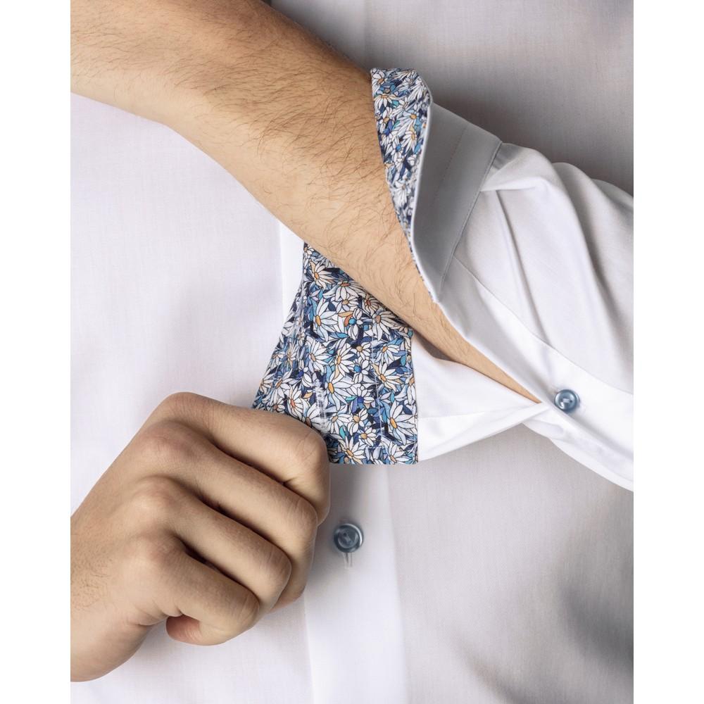 Eton Flower Print Trim Slim Fit Shirt White