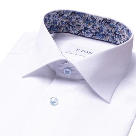 Eton Flower Print Trim Slim Fit Shirt