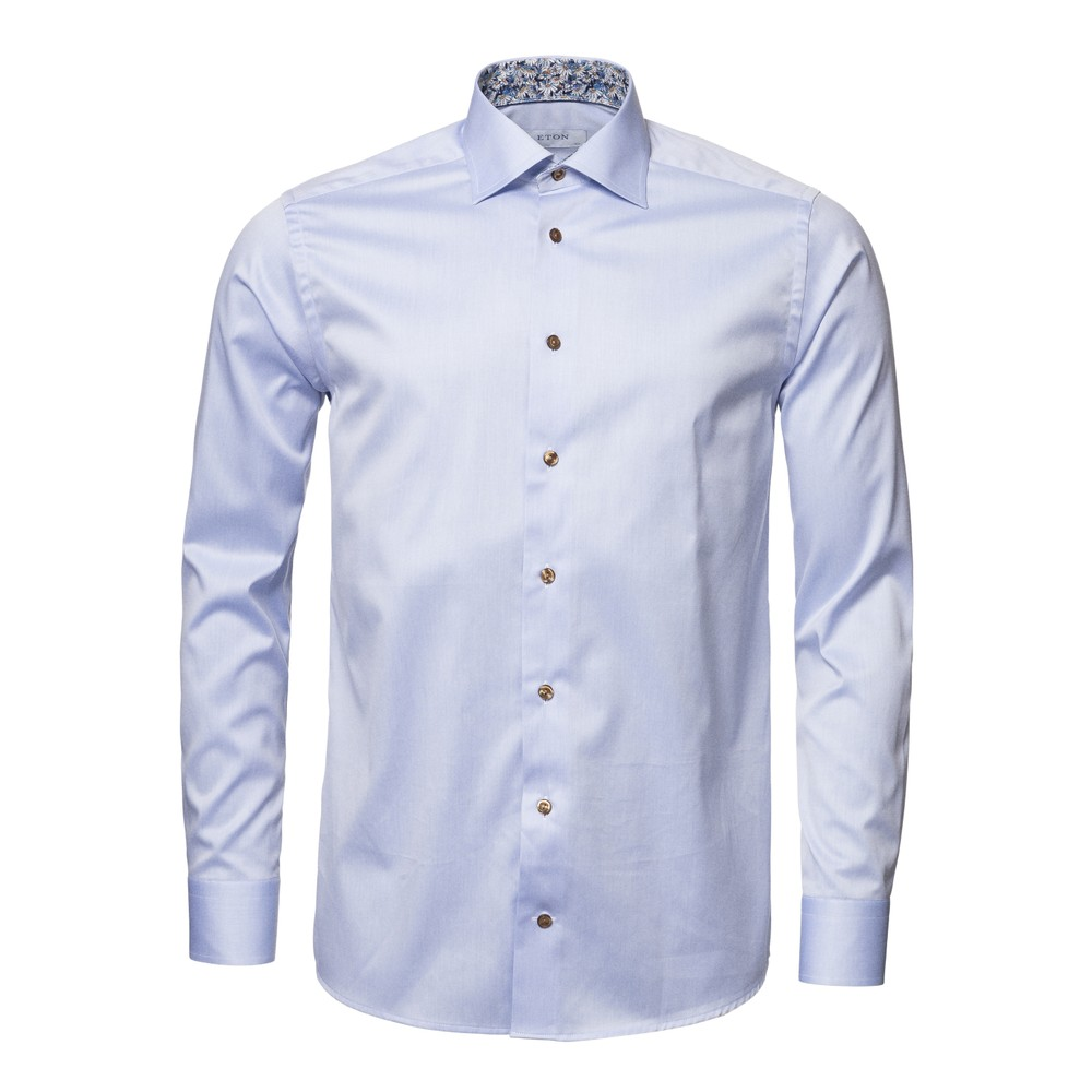 Eton Flower Print Trim Slim Fit Shirt Blue