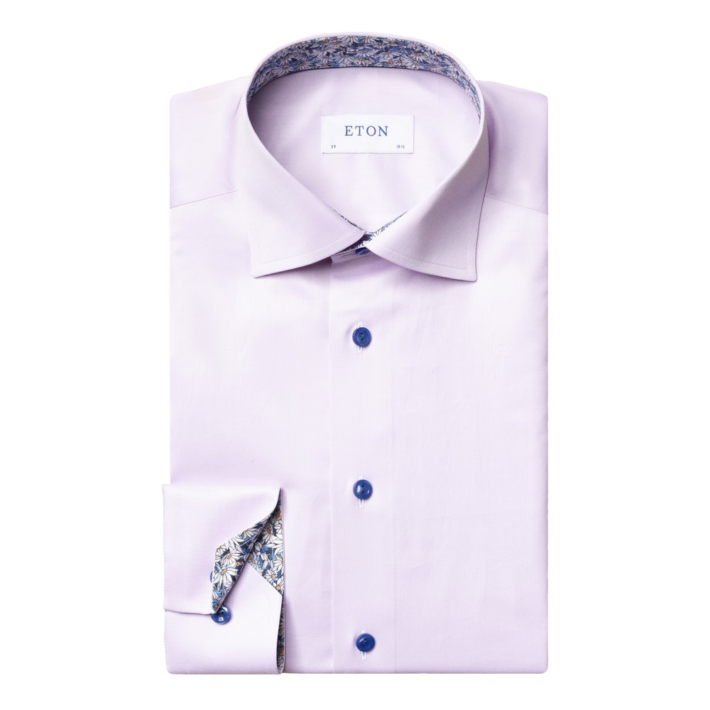 Eton Flower Print Trim Slim Fit Shirt Purple