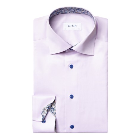 Eton Flower Print Trim Slim Fit Shirt in Purple
