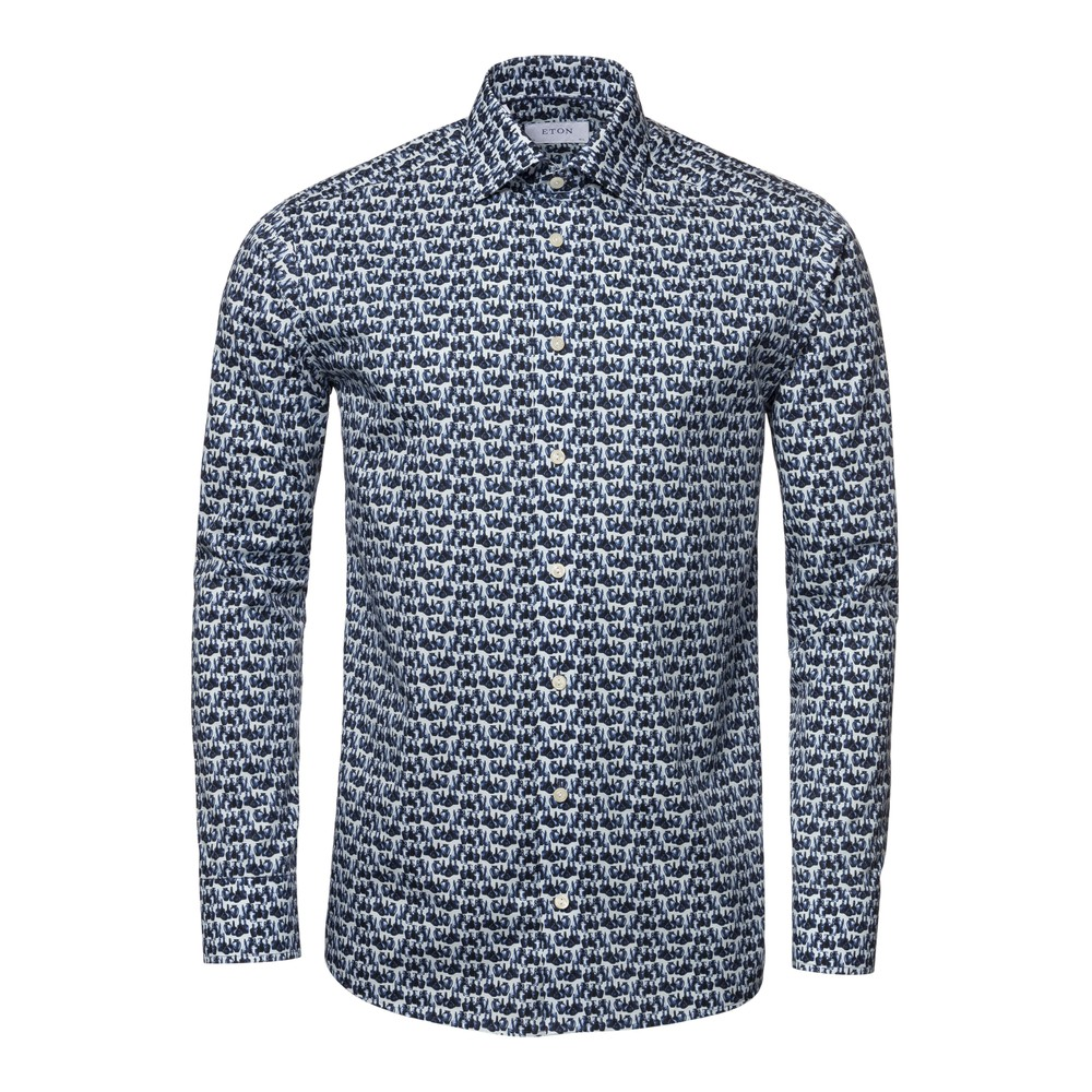 Eton Vase Print Slim Fit Shirt Blue and White