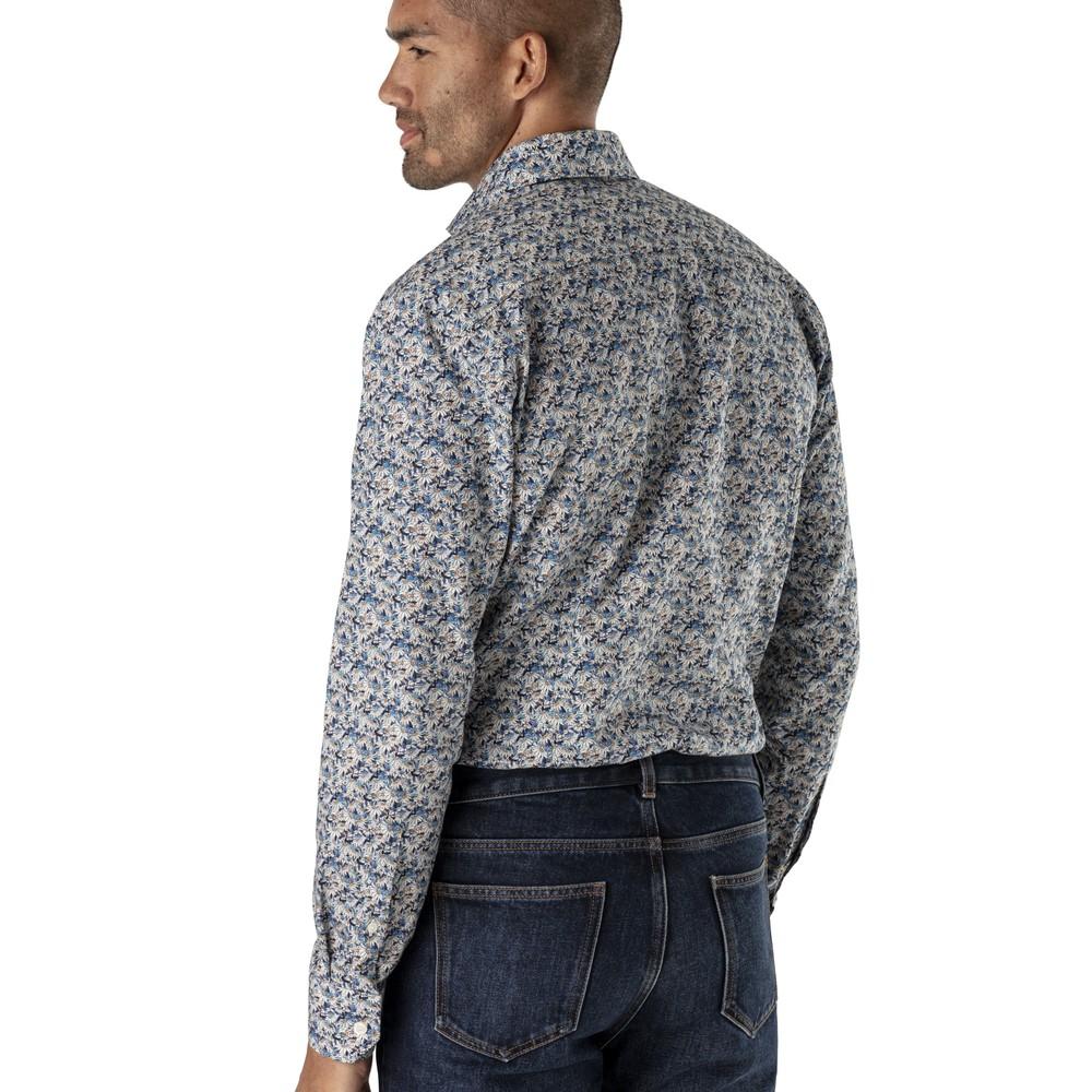 Eton Flower Print Slim Fit Shirt Blue