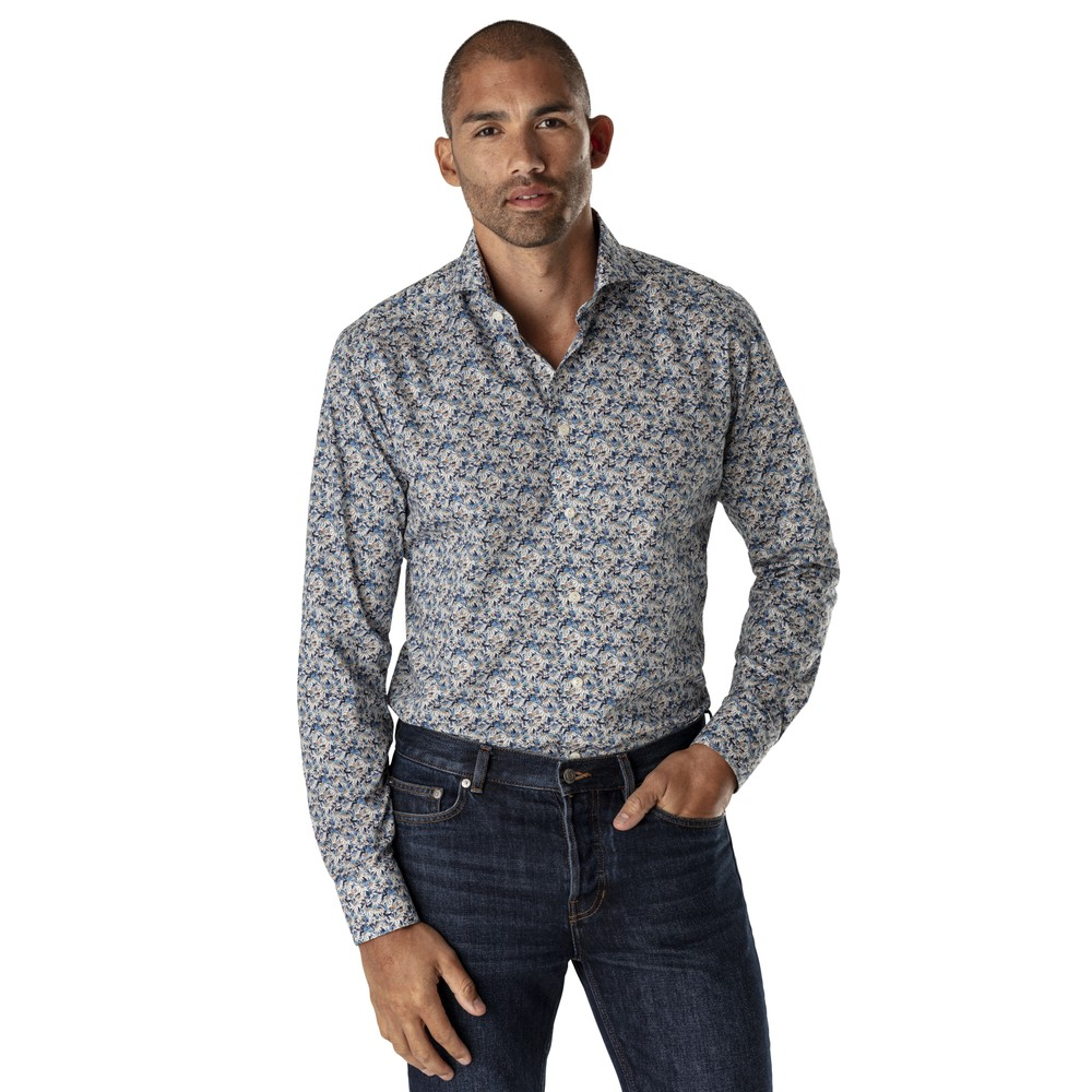 Eton Flower Print Contemporary Fit Shirt Blue