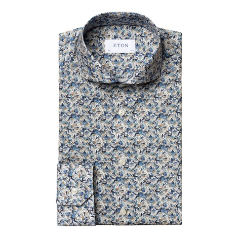 Eton Flower Print Contemporary Fit Shirt