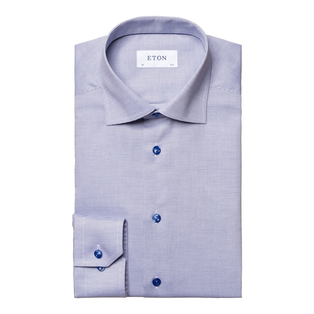 Eton Textured Slim Fit Twill Shirt Navy and White