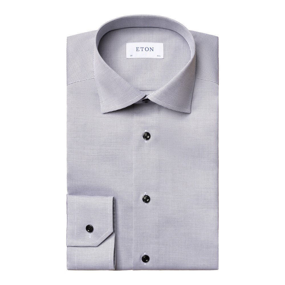 Eton Textured Slim Fit Twill Shirt Pink and White