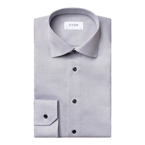 Eton Textured Slim Fit Twill Shirt in Pink and White