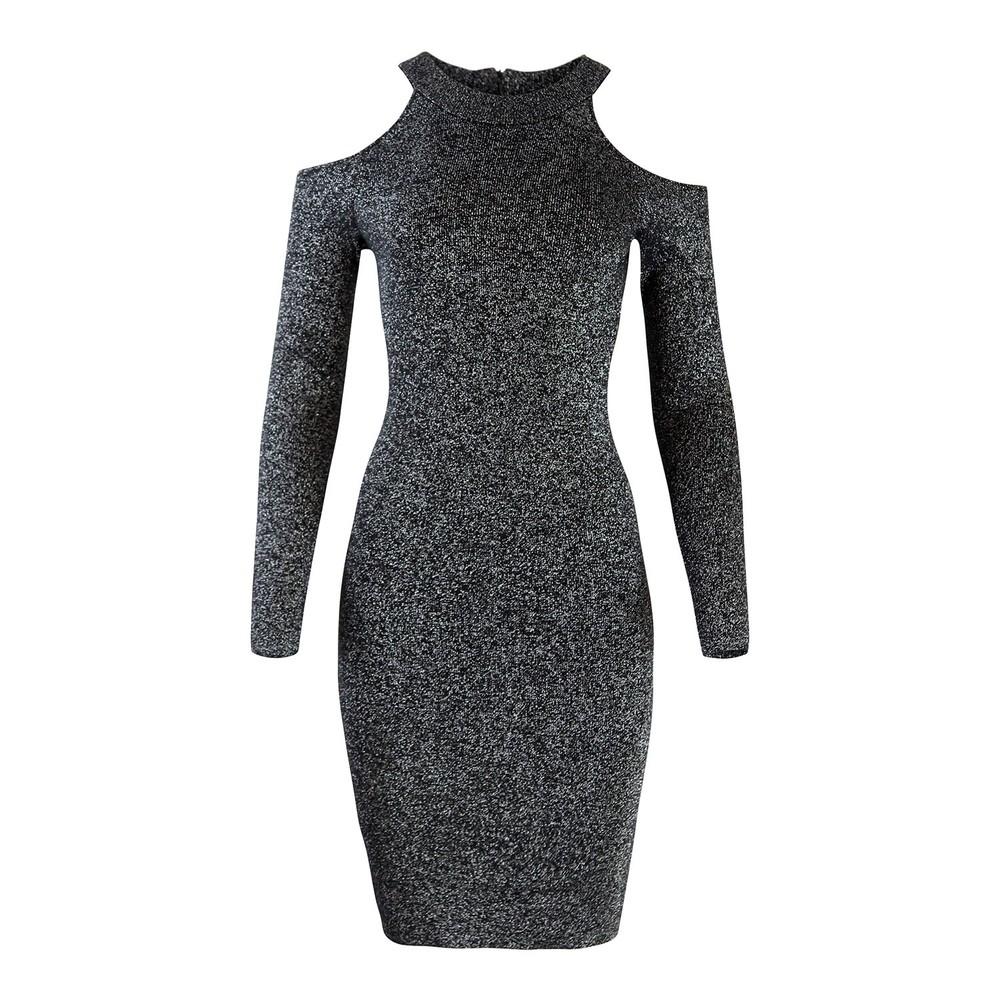 Michael Kors Glitter Cold Shoulder Dress Silver and Black