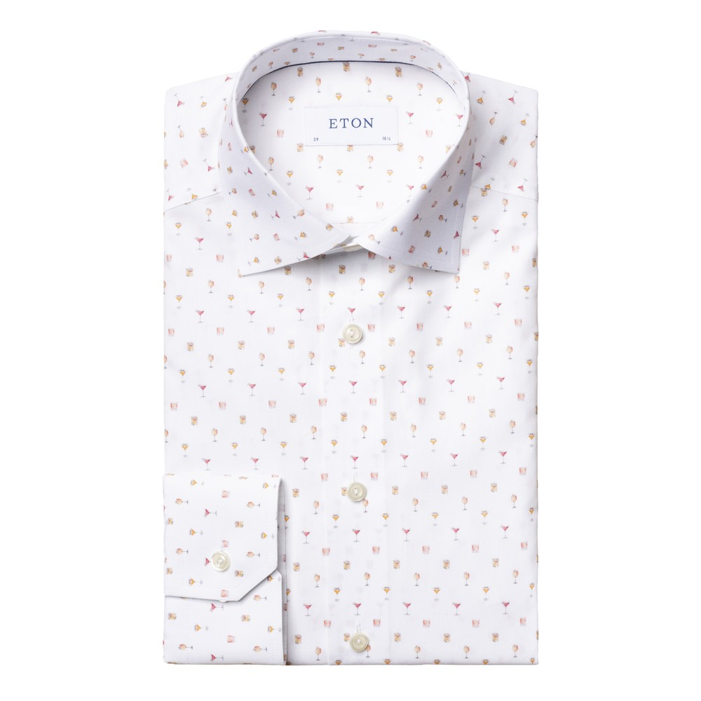 Eton Cocktail Print Poplin Shirt White