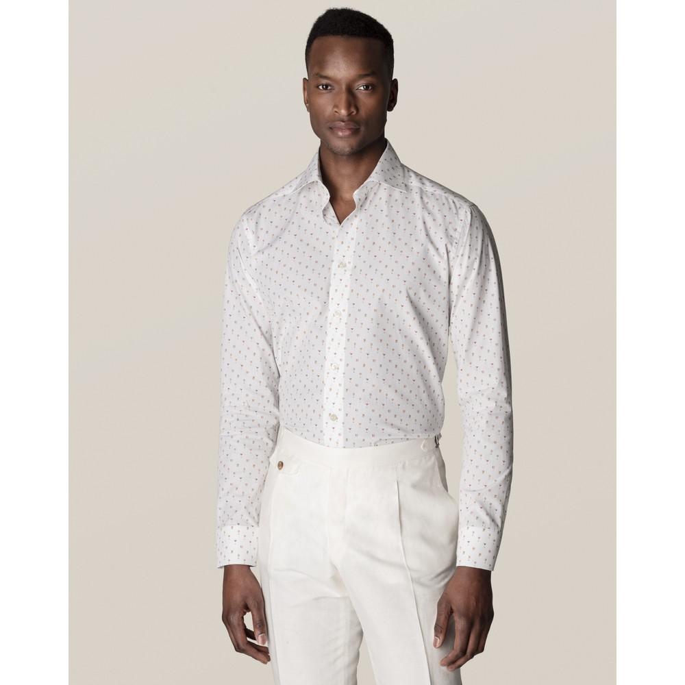 Eton Cocktail Print Poplin Shirt White