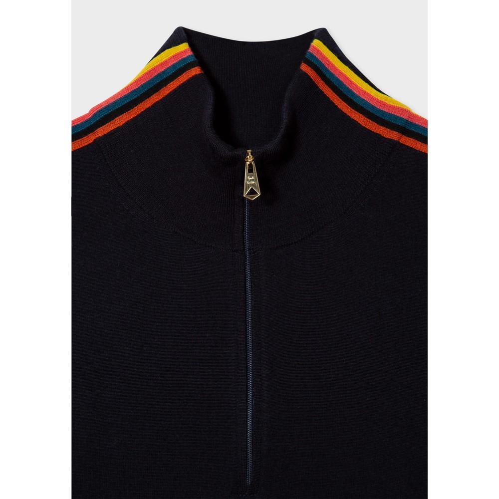 Paul Smith 'Artist Stripe' Trim Zip Neck Top Dark Navy