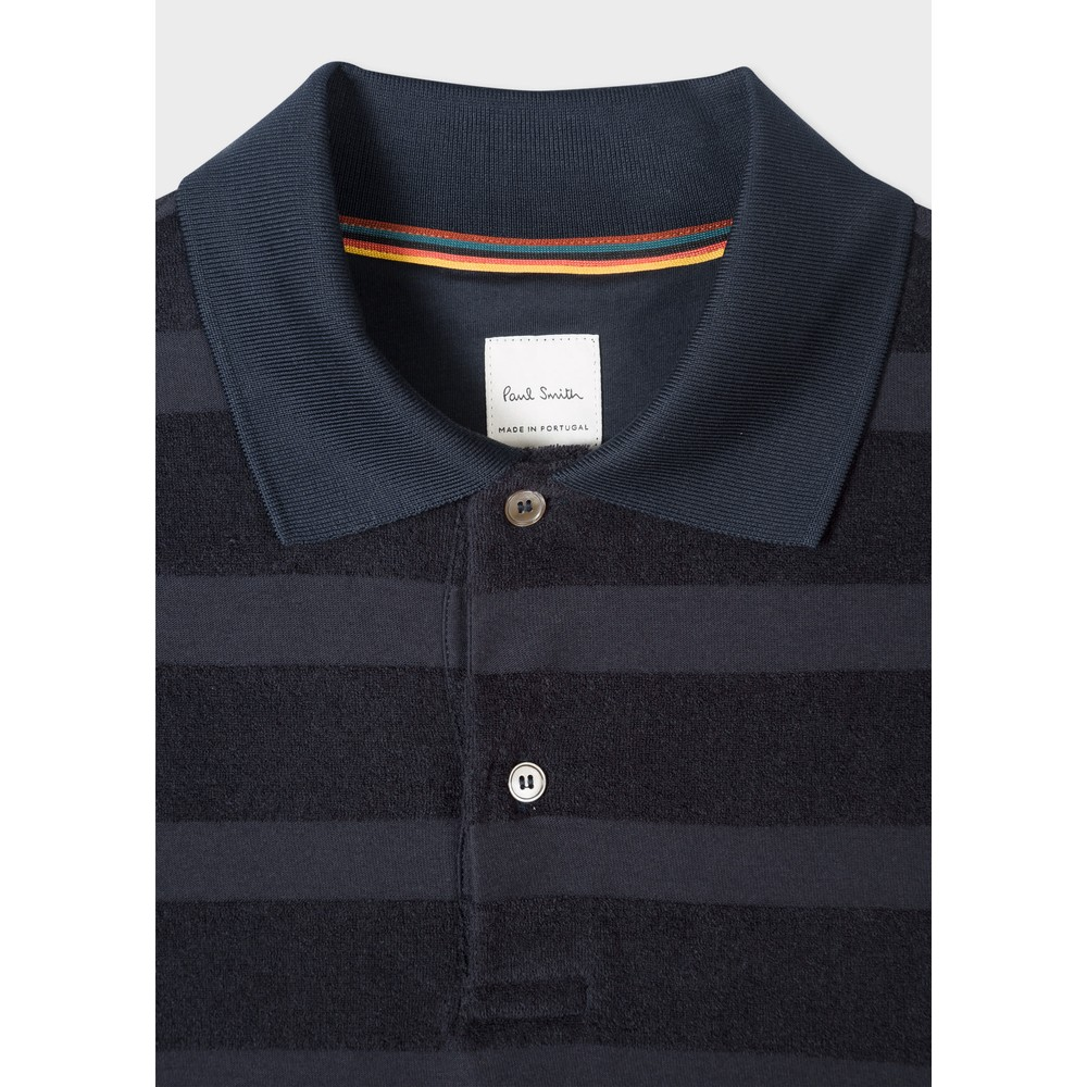 Paul Smith Cotton-Towelling Stripe Polo Shirt Dark Navy