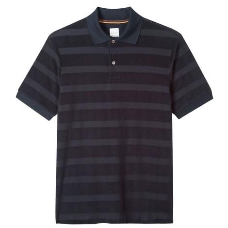 Paul Smith Cotton-Towelling Stripe Polo Shirt in Dark Navy