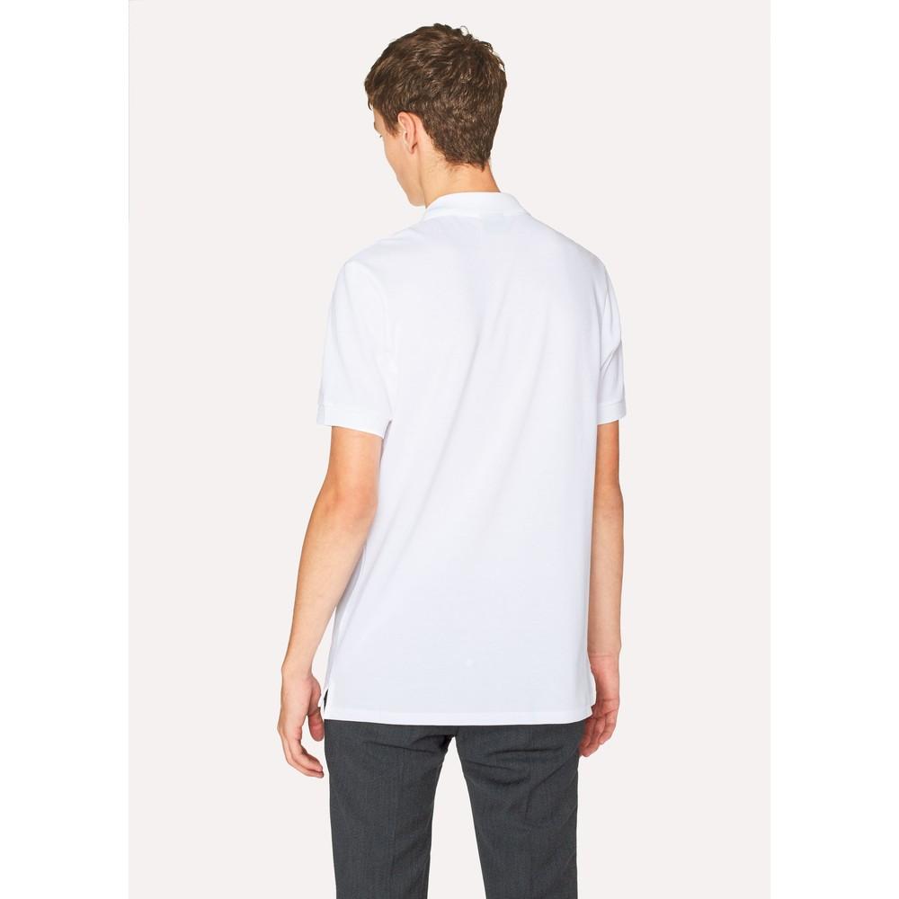 PS Paul Smith Organic Cotton-Piqué Zebra Logo Polo Shirt White