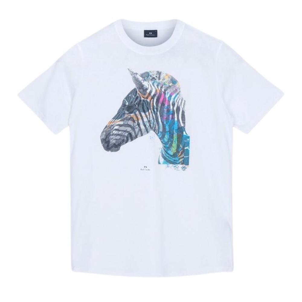 PS Paul Smith 'Graffiti Zebra' Print Organic Cotton T-Shirt White