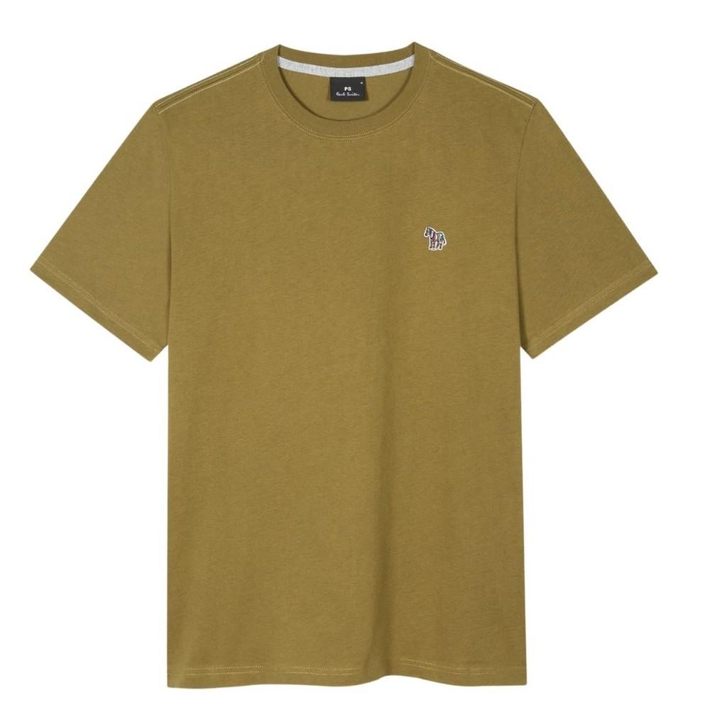 PS Paul Smith Organic-Cotton Zebra Logo T-Shirt Olive