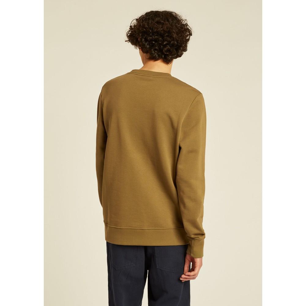 PS Paul Smith Organic-Cotton Embroidered Zebra Logo Sweatshirt Olive