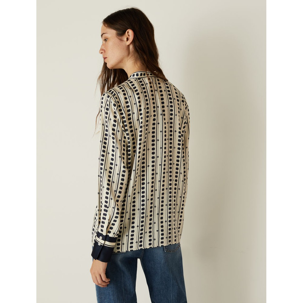 Marella Cluny Patterned Blouse Navy and White
