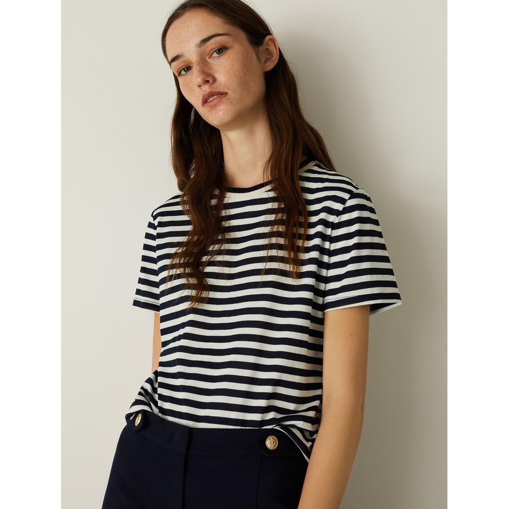 Marella Conico Striped T-Shirt Navy and White