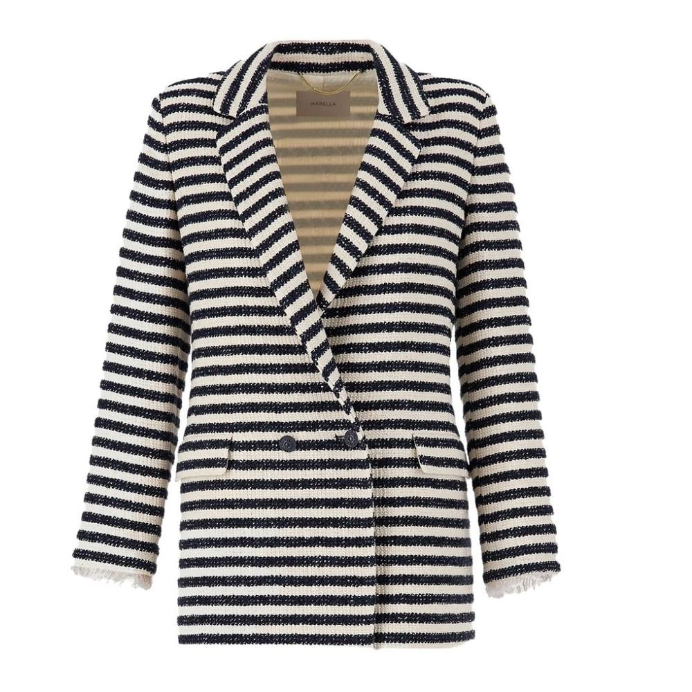 Marella Vicenza Stripe Tweed Jacket Navy and Cream