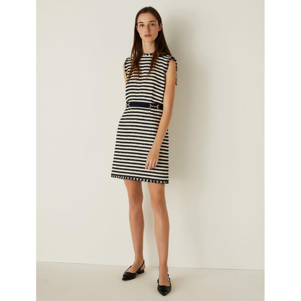 Marella Zebio Stripe Tweed Dress Navy and Cream