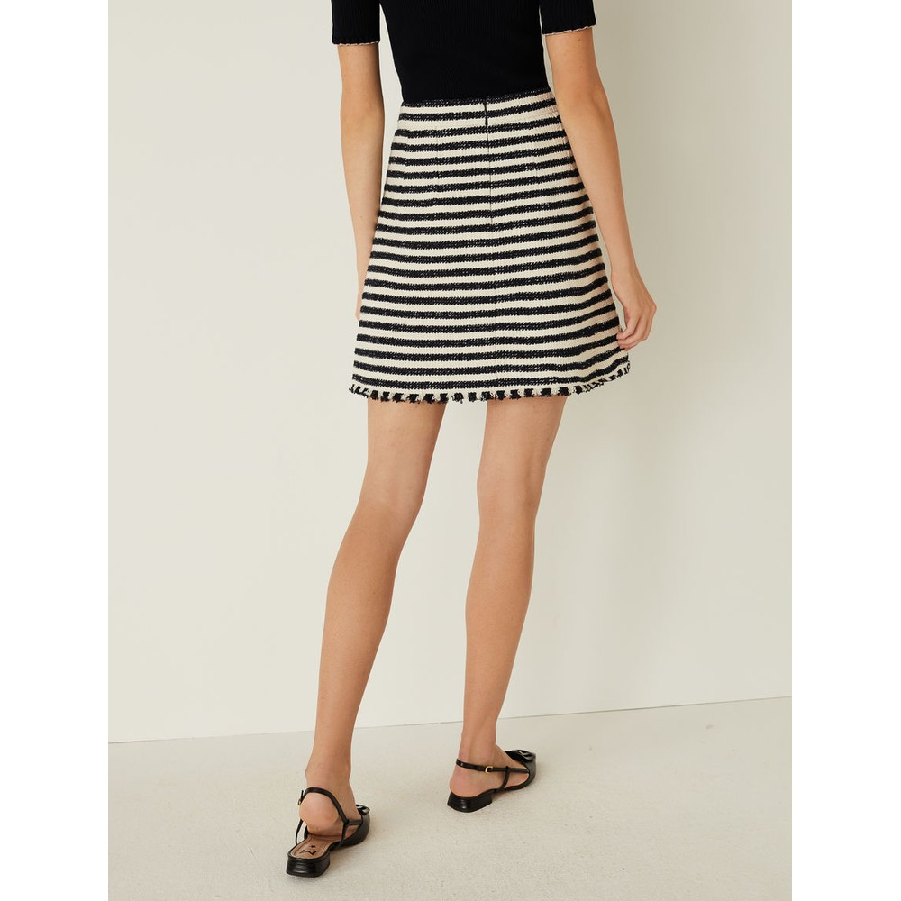 Marella Abbazia Stripe Tweed Skirt Navy and Cream