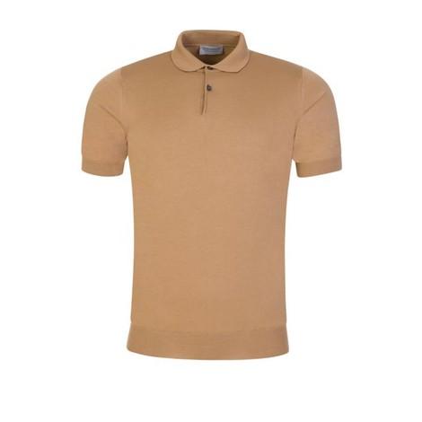 John Smedley Cpayton Short Sleeve Polo Shirt in Hazelnut