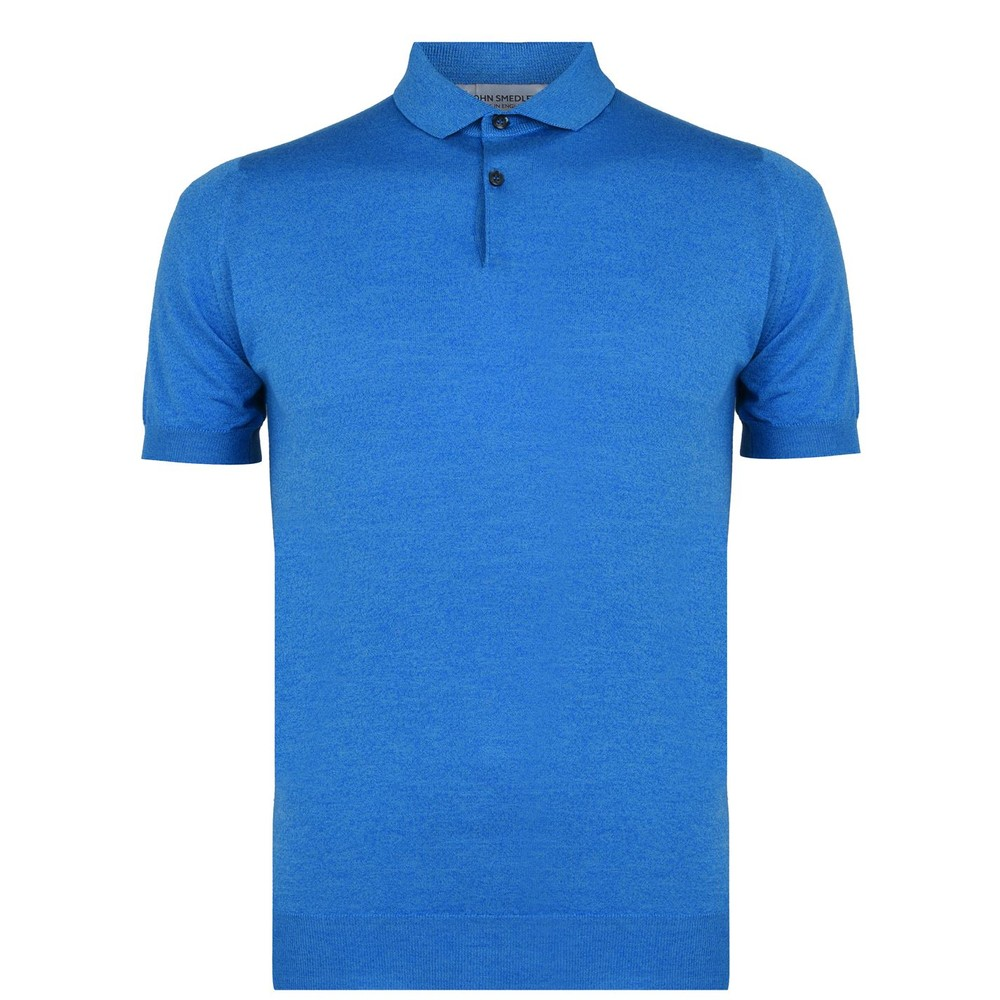 John Smedley Cpayton Short Sleeve Polo Shirt Blue