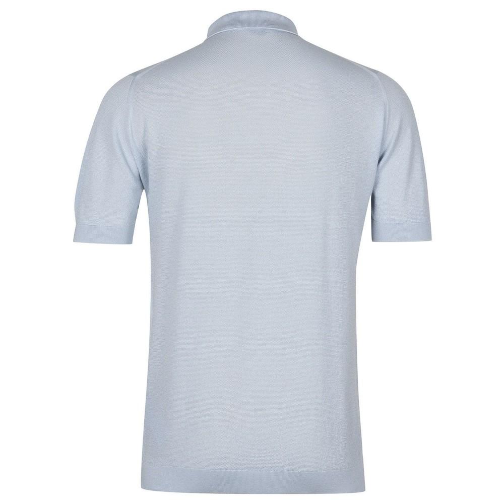John Smedley Roth Pique Polo Shirt Coast Blue