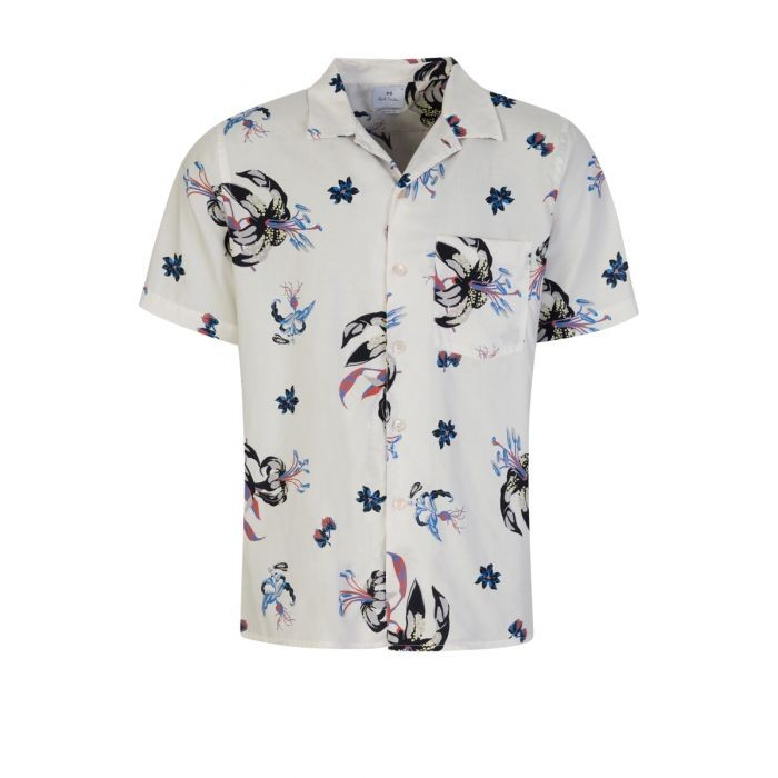 PS Paul Smith Short Sleeve Botanical Print Casual Fit Shirt Off White